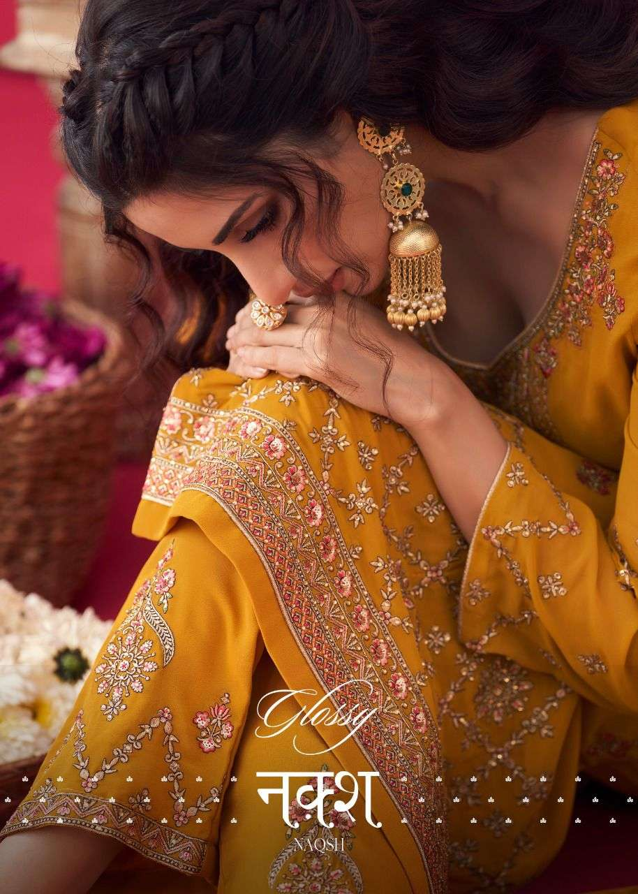 Glossy Naqsh Series 2808-2814 Georgette Embroidery Suits