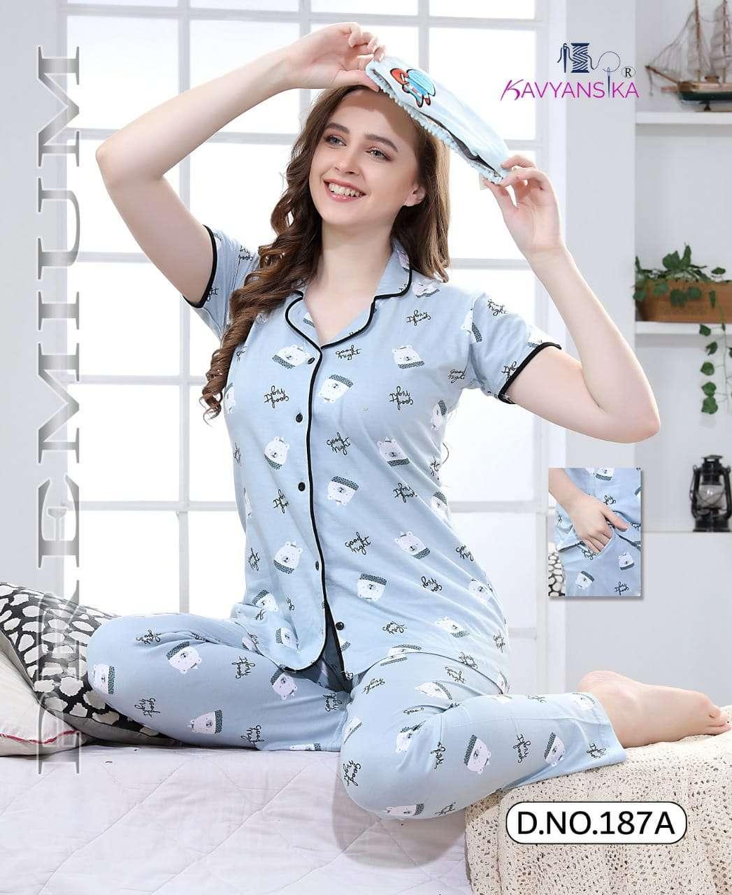 Kavyansika Collar Vol-187 Hosiery Cotton Ladies Night Suit