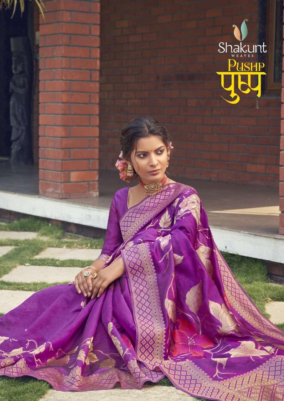 Pushp By Shakunt Cotton Weaving Wedding Wear Fancy Saree