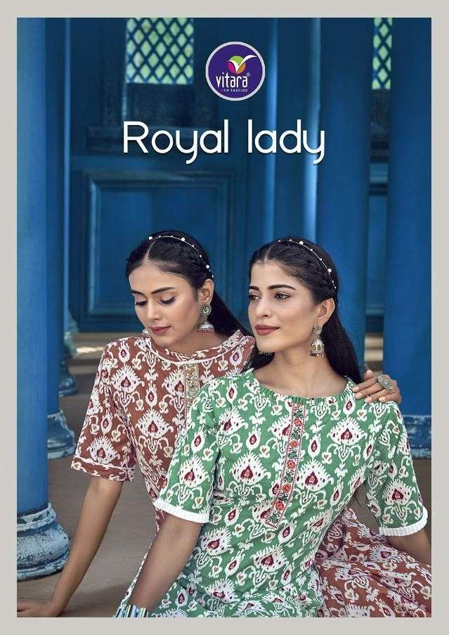 Royal Lady By Vitara Cotton Embroidery Kurti With Pant Supplier
