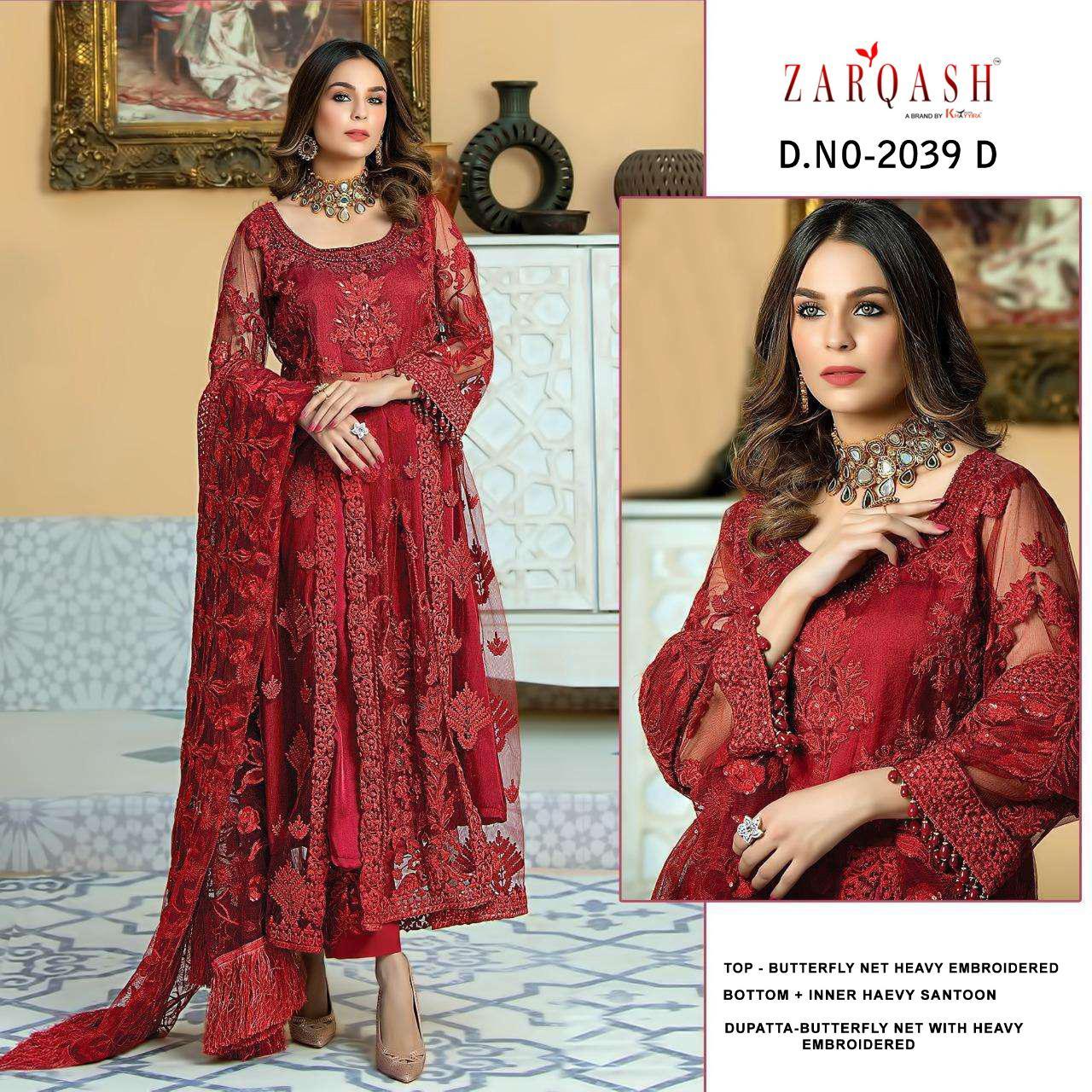 Zarqash Firdous Dn-2039 Designer Butterfly Net Suit