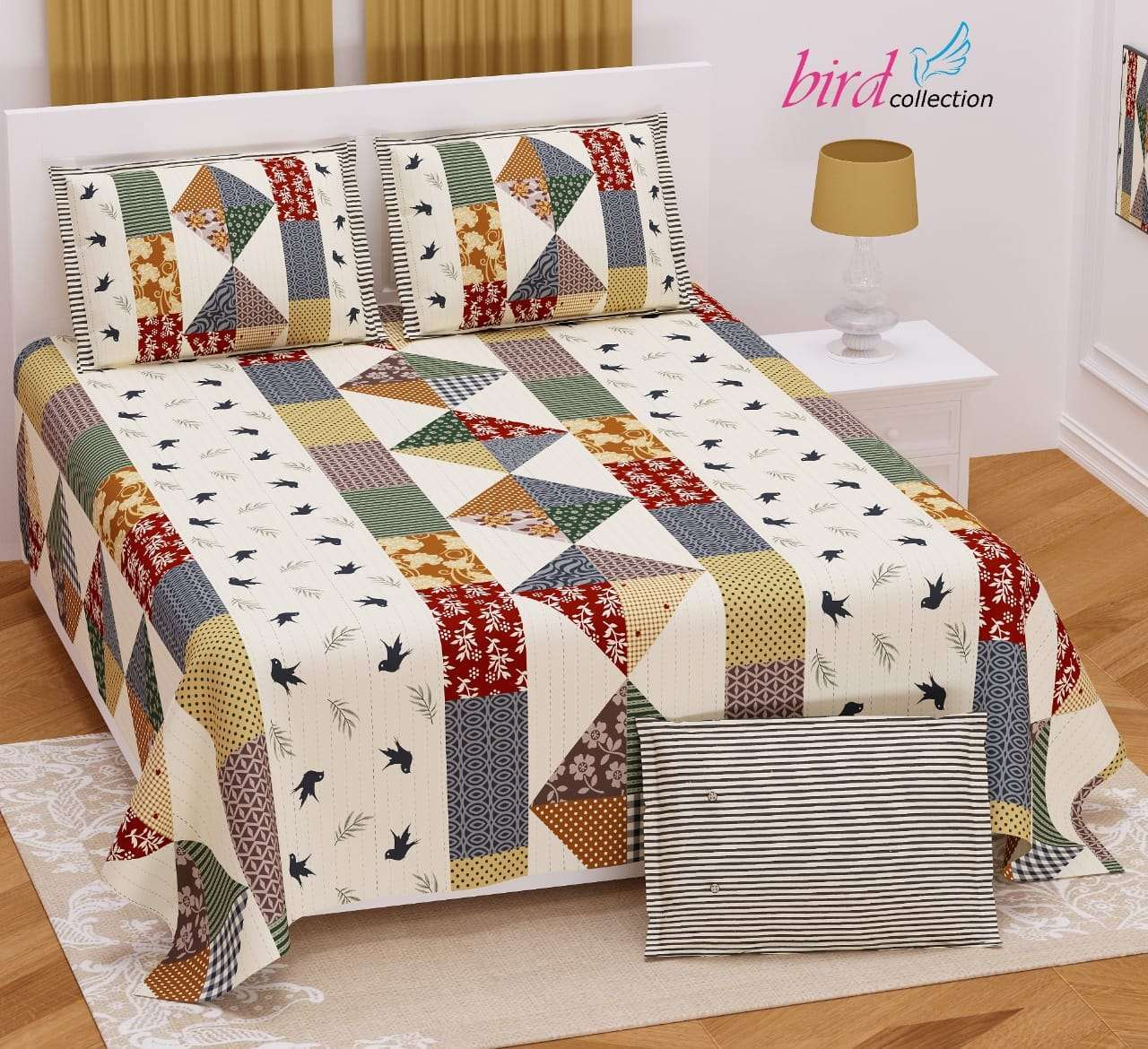 BIRD COLLECTION TWILL SATIN FLORAL PATTERN KING SIZE BED SHEETS WHOLESALE PRICE