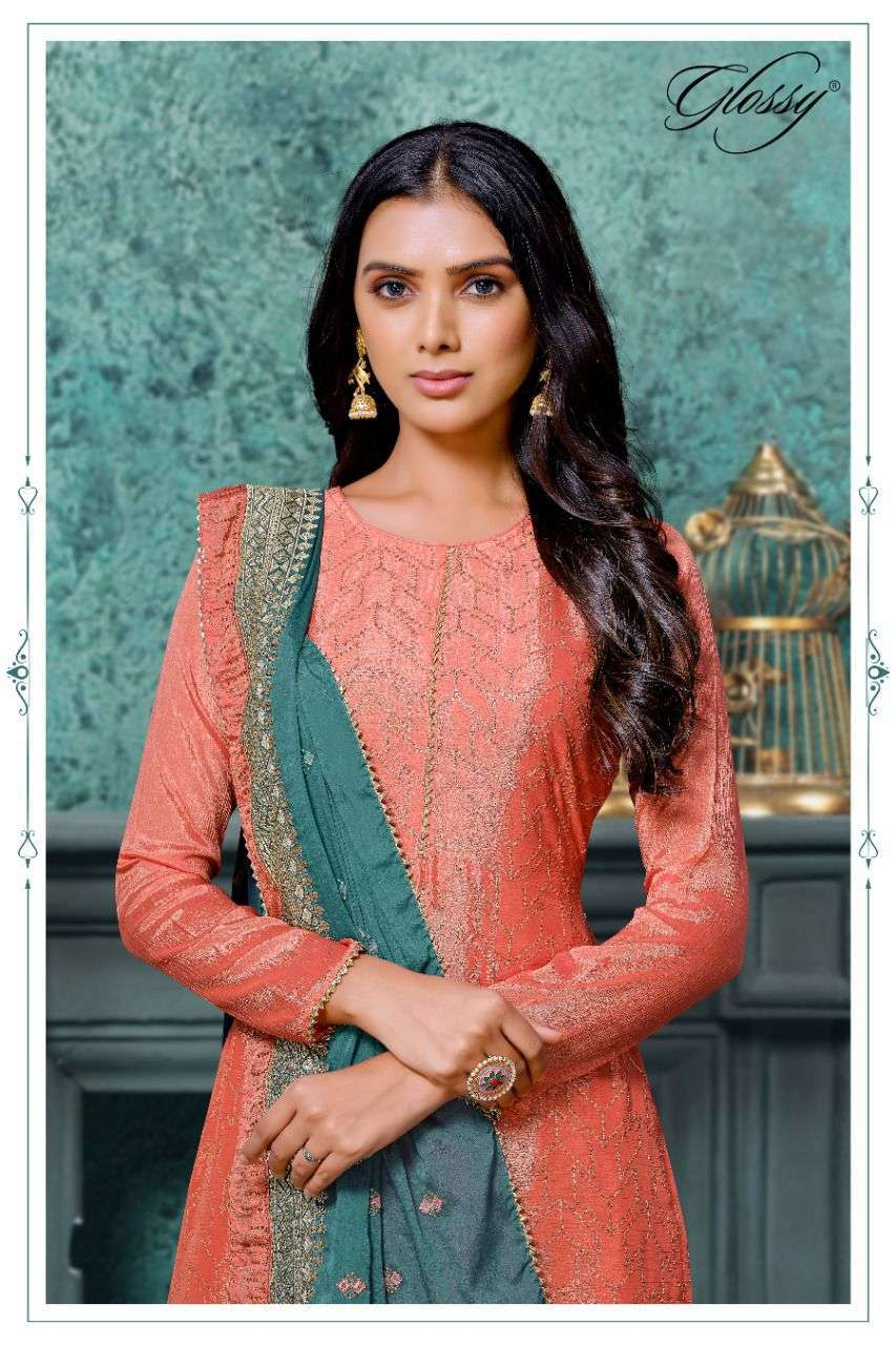 GLOSSY 5521 PURE CHINON EMBROIDERY DESIGNER SUITS