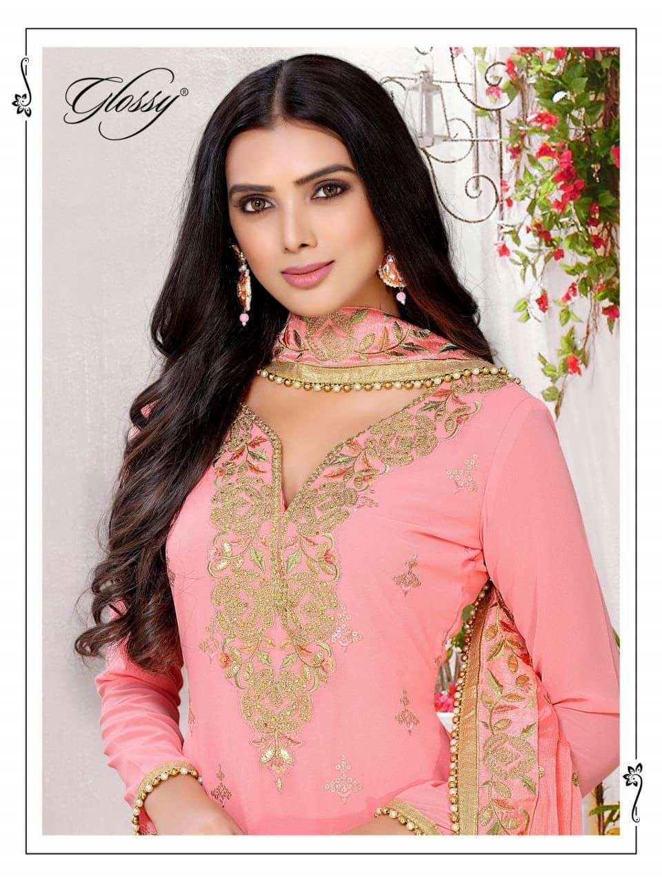 GLOSSY DNO 37 GEORGETTE HEAVY EMBROIDERY PLAZZO PATTERN DRESSES FOR BUSINESS