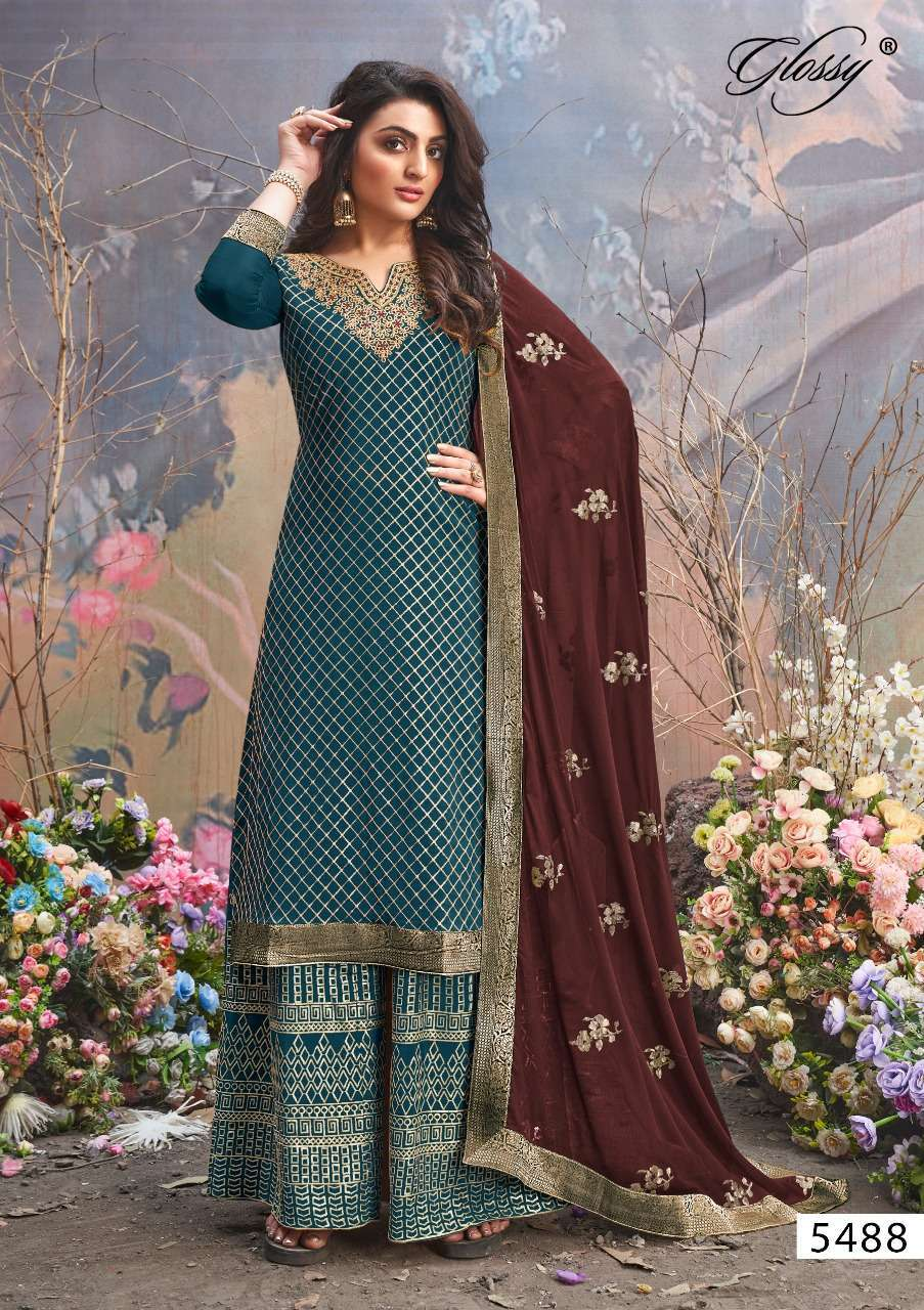 GLOSSY MUSKAAN 5488 EXCLUSIVE PARTY WEAR SUITS WHOLESALER