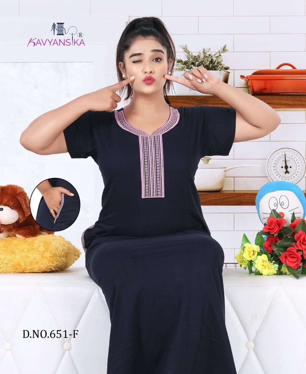 KAVYANSIKA 651 COTTON EMBROIDERY WOMEN NIGHTY GOWN SUPPLIER