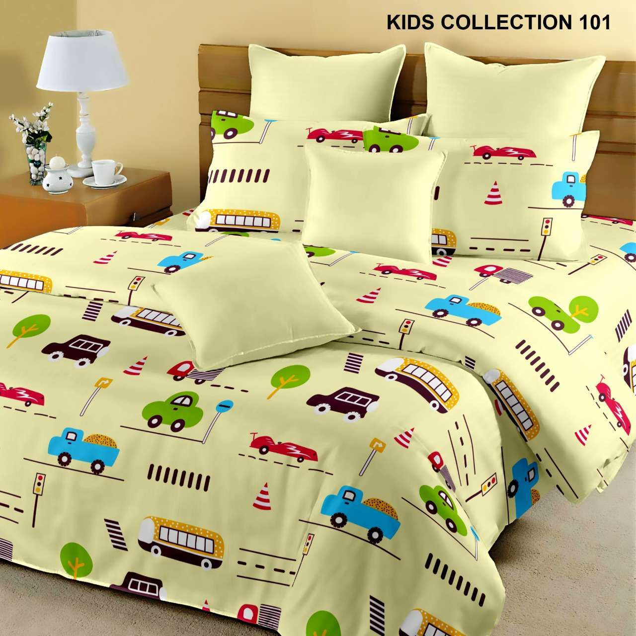 KING SIZE COTTON BEDSHEETS WITH TWO PILLOW COVER KIDS DESIGNS PATTERN