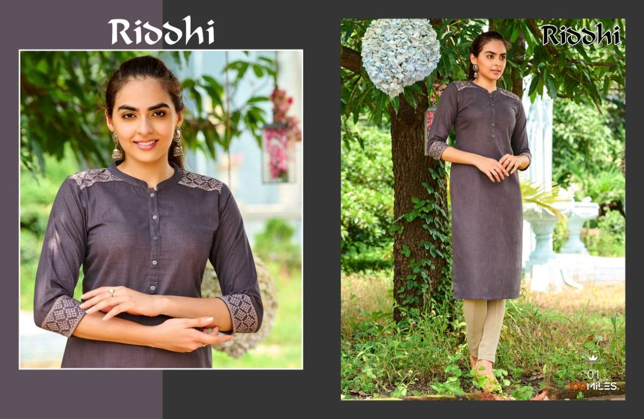 100 miles riddhi series 01-04 Pure linen Cotton kurti