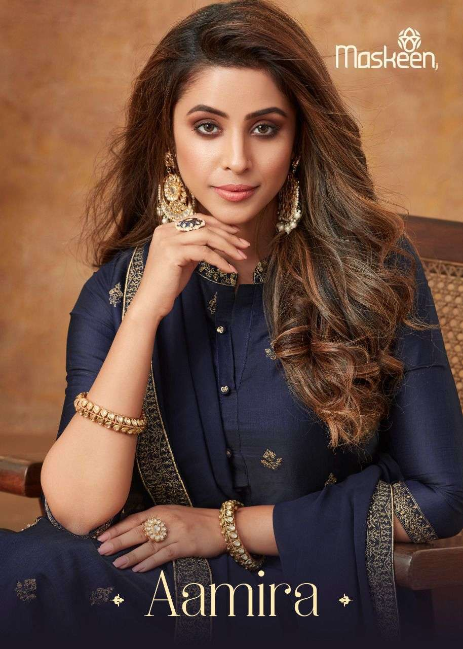 AAMIRA BY MASKEEN SILK READYMADE EXCLUSIVE FANCY SUITS WHOLESALER