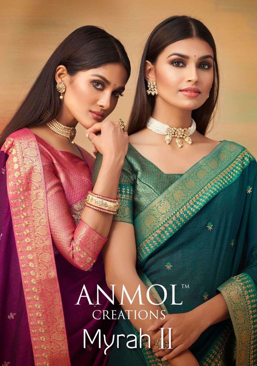 anmol creation myrah vol 2 series 5001-5010 vichitra silk saree