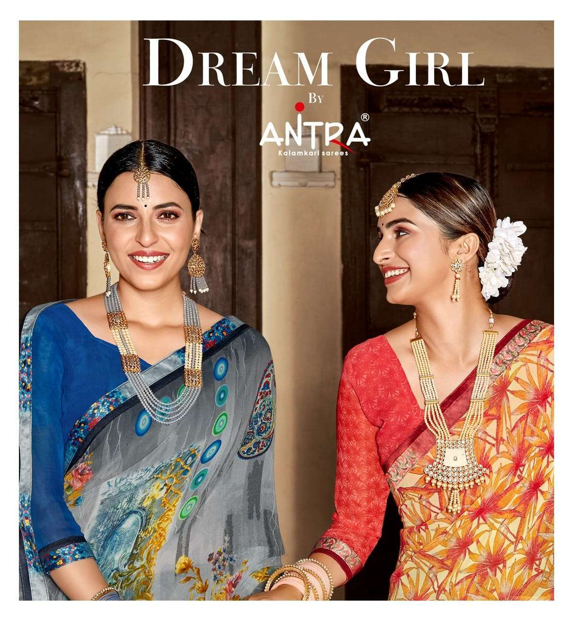 antra dream girl vol 1 series 75161-75170 weightless print lace saree