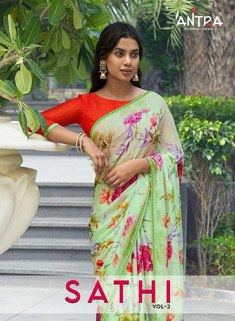 antra sathi vol 2 series 75821-75830 moss chiffon saree