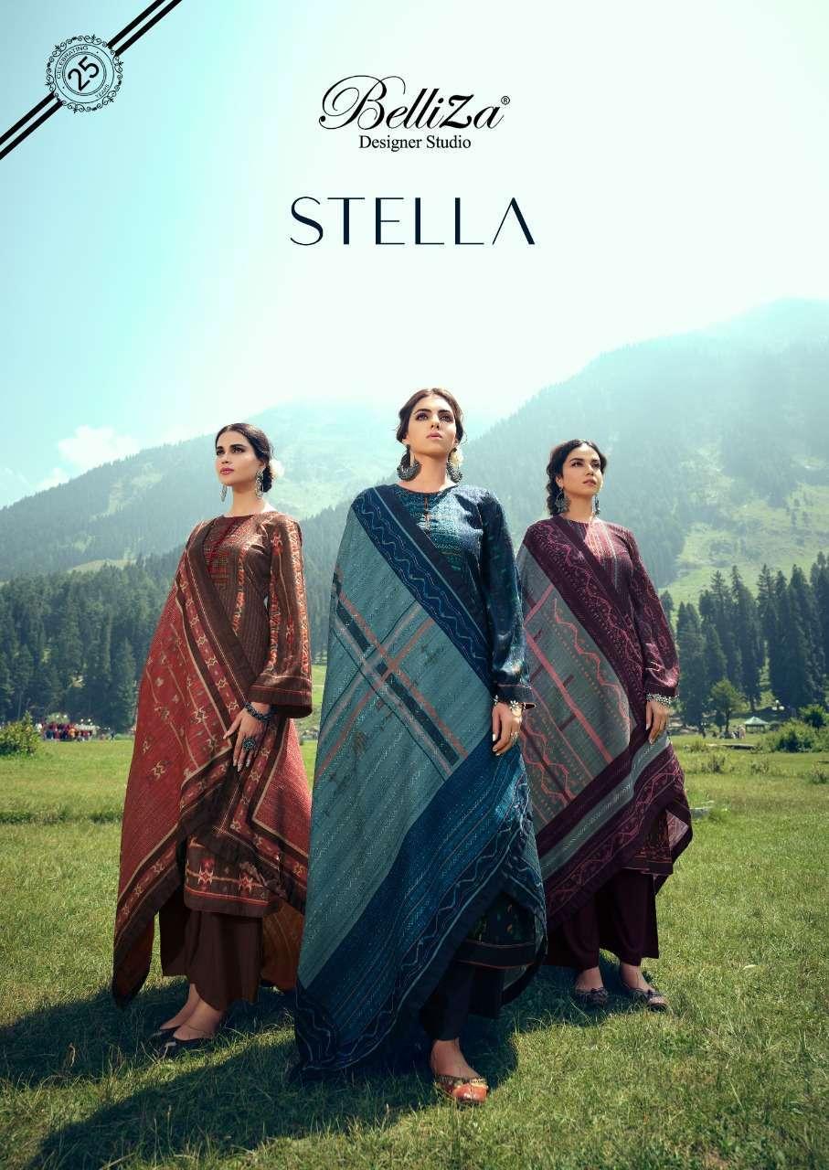 belliza stella series 711001-711008 Pure Pashmina with Digital Prints suit