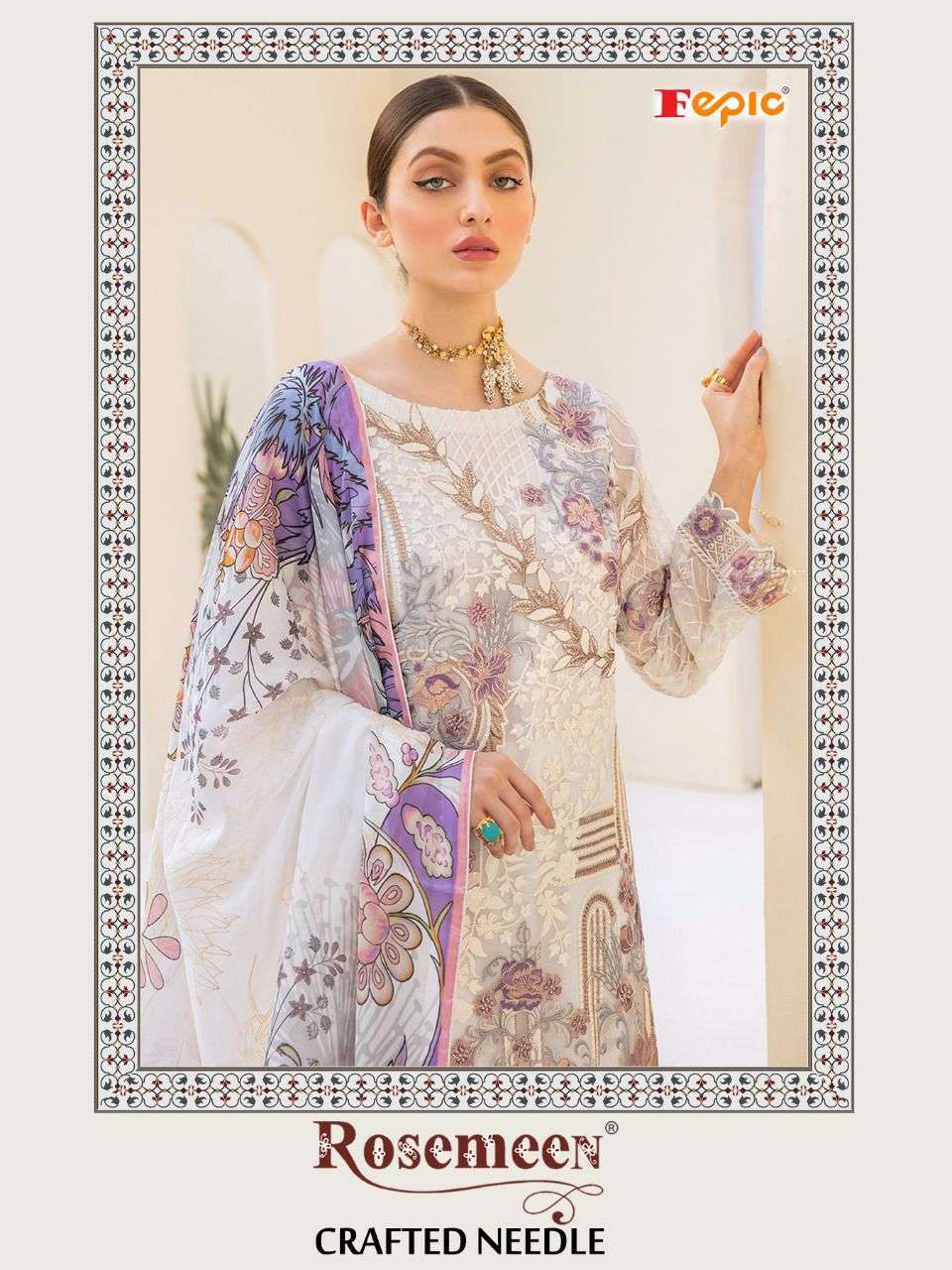 CRAFTED NEEDLE BY FEPIC GEORGETTE PAKISTANI DESIGNER SUITS