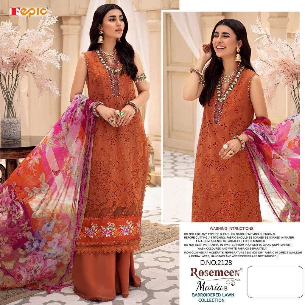 Fepic rosemeen maria b embroidered lawn collection series 2127-2130 pure cotton suit