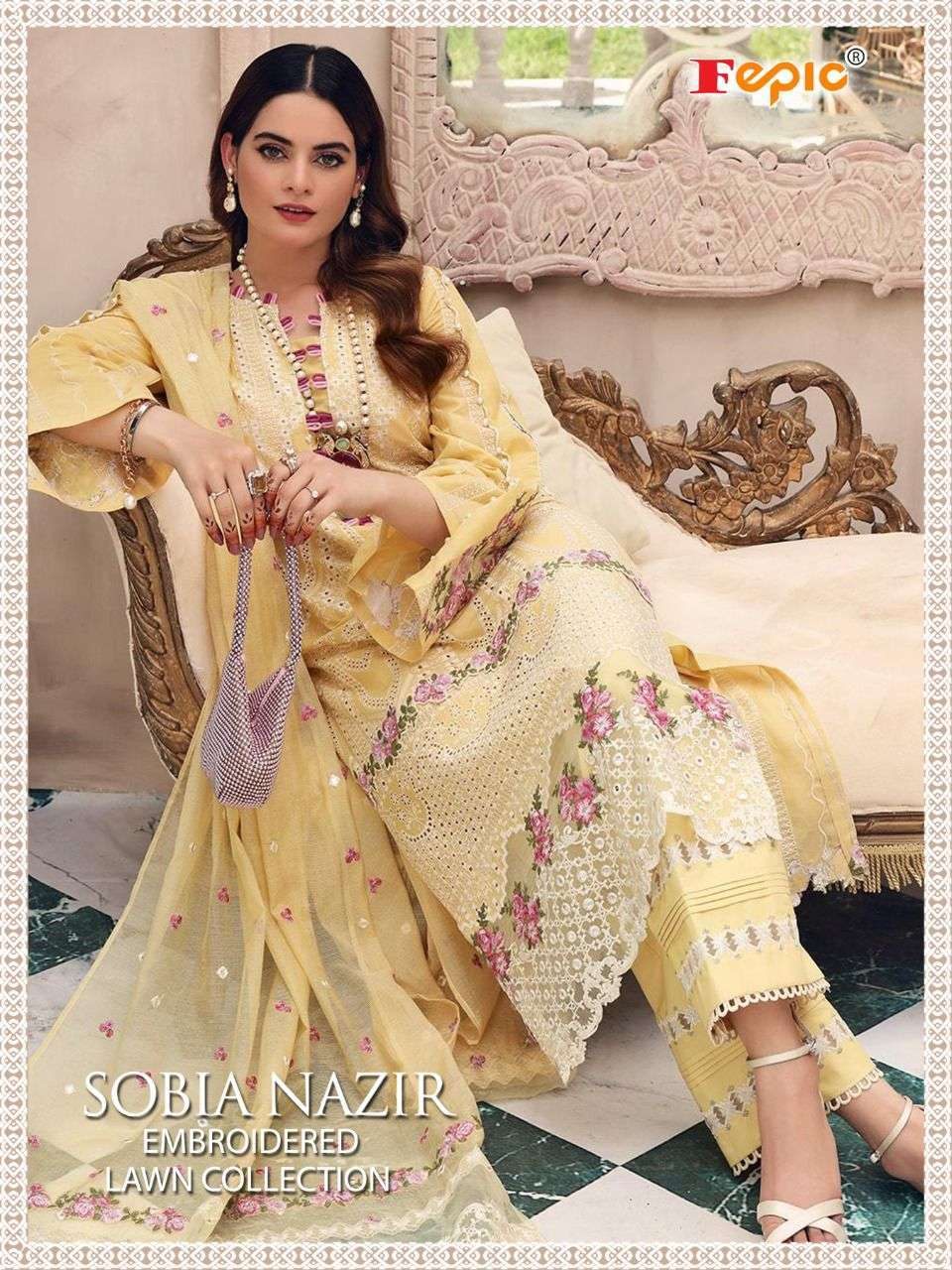 fepic sobia nazir embroidered lawn series 5131-5135 pure cotton suit