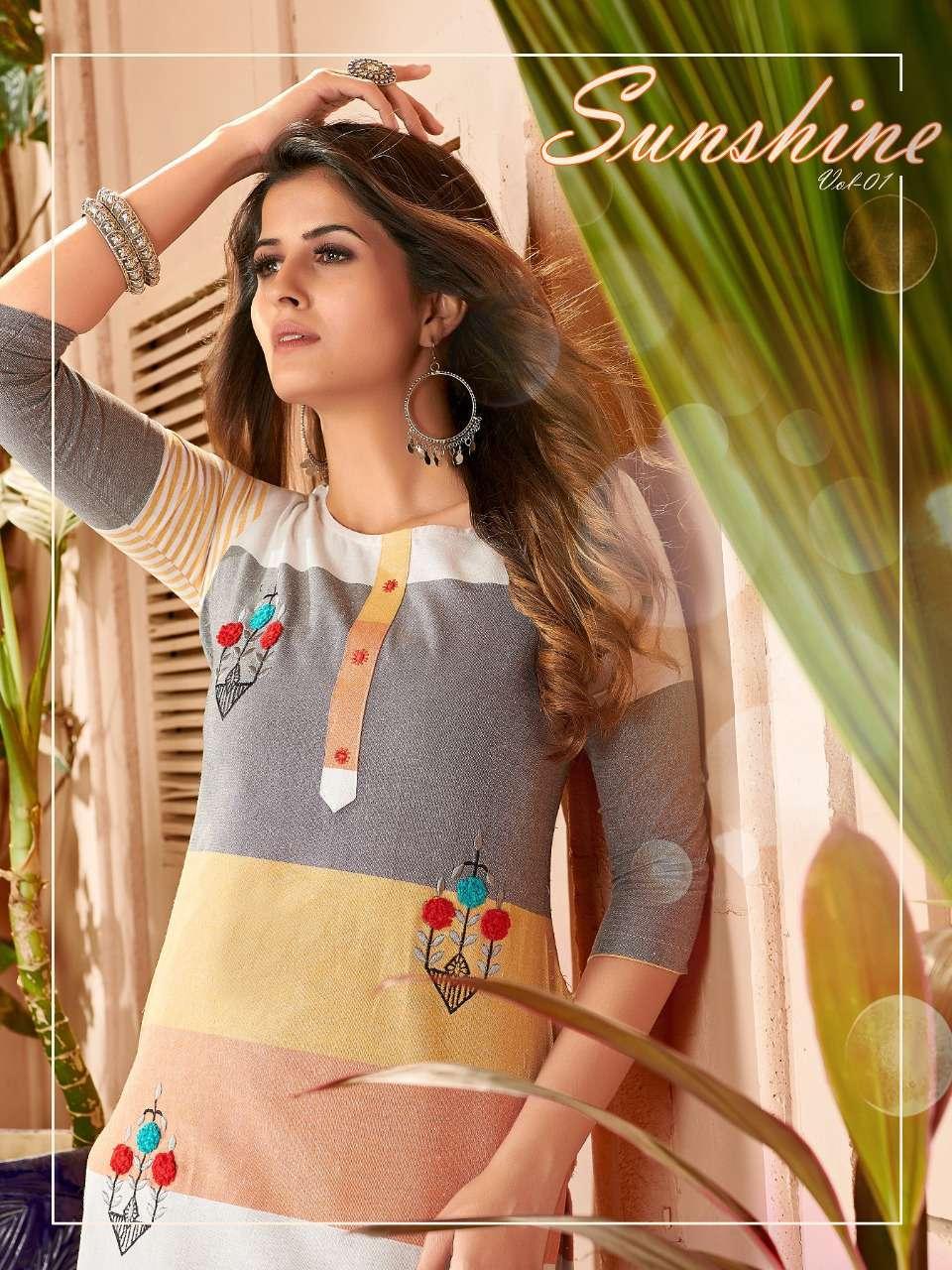 fvd sunshine vol 1 series 1048-1053 Pure Khadi Lining and Weaving kurti