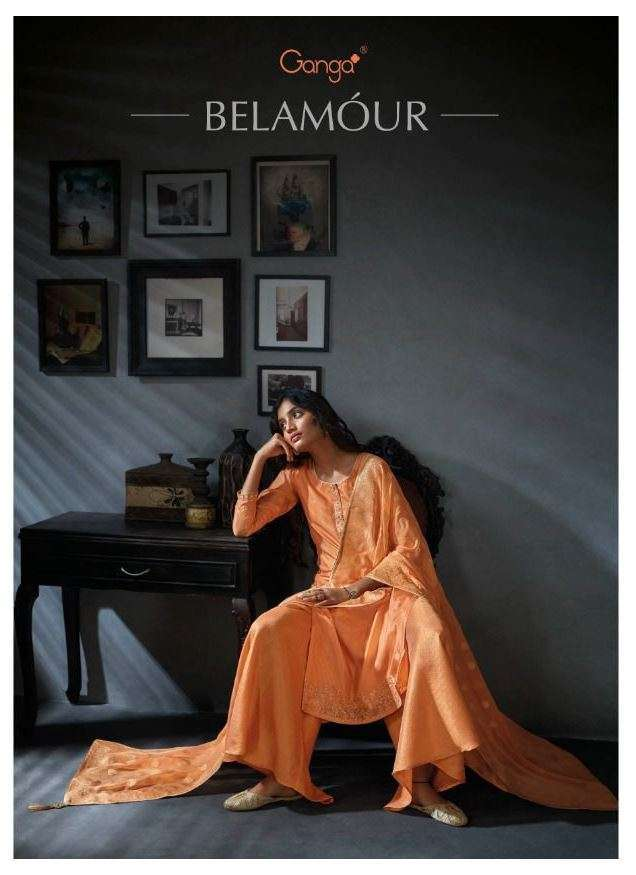 ganga belamour habutai silk with embroidery handwork suits