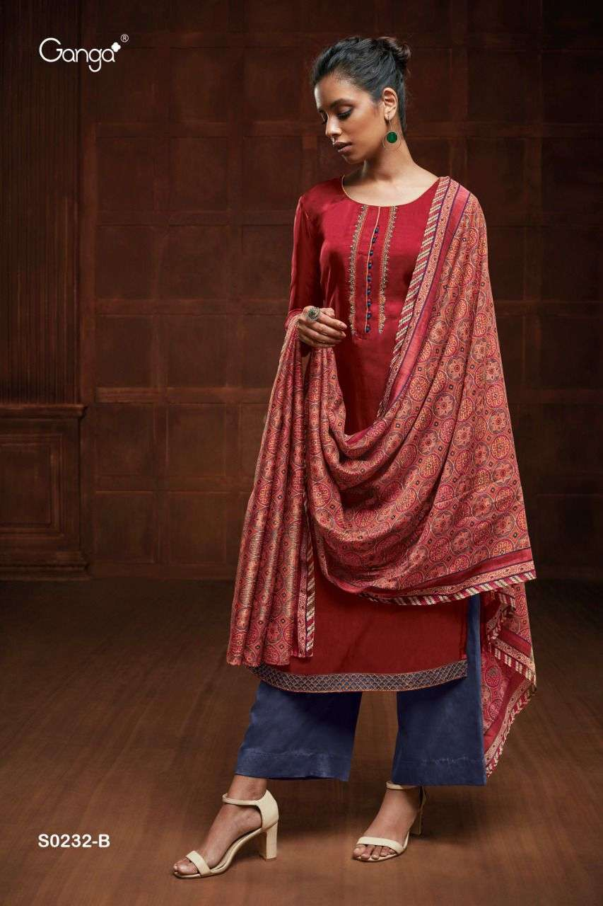 ganga eveleen 232 series Silk Solid With Embroidery suit