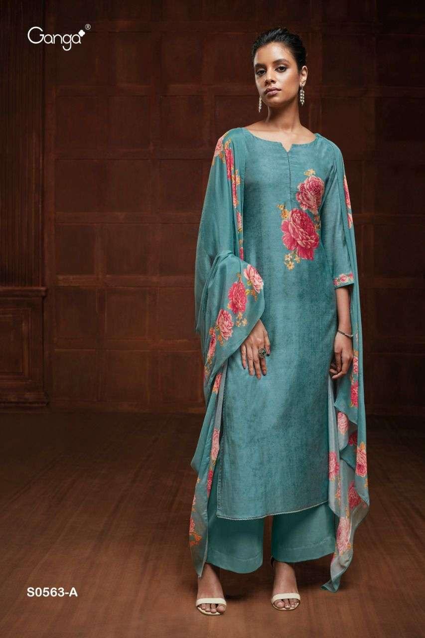 Ganga Eveleen 563 Series Bemberg Silk With Hand Work Dress Material Collection
