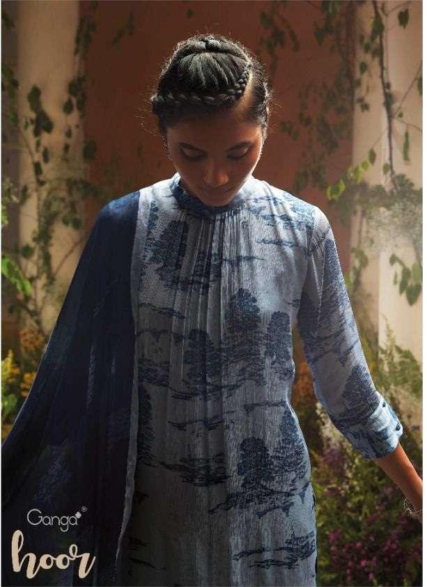 Ganga Hoor series C0738-C0743 Silk Chiffon Print With Work Dress Material Collection