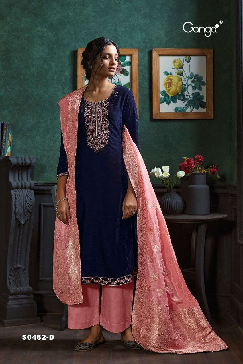 Ganga Lyla 482 Series Velvet With Embroidery Work Salwar Kameez