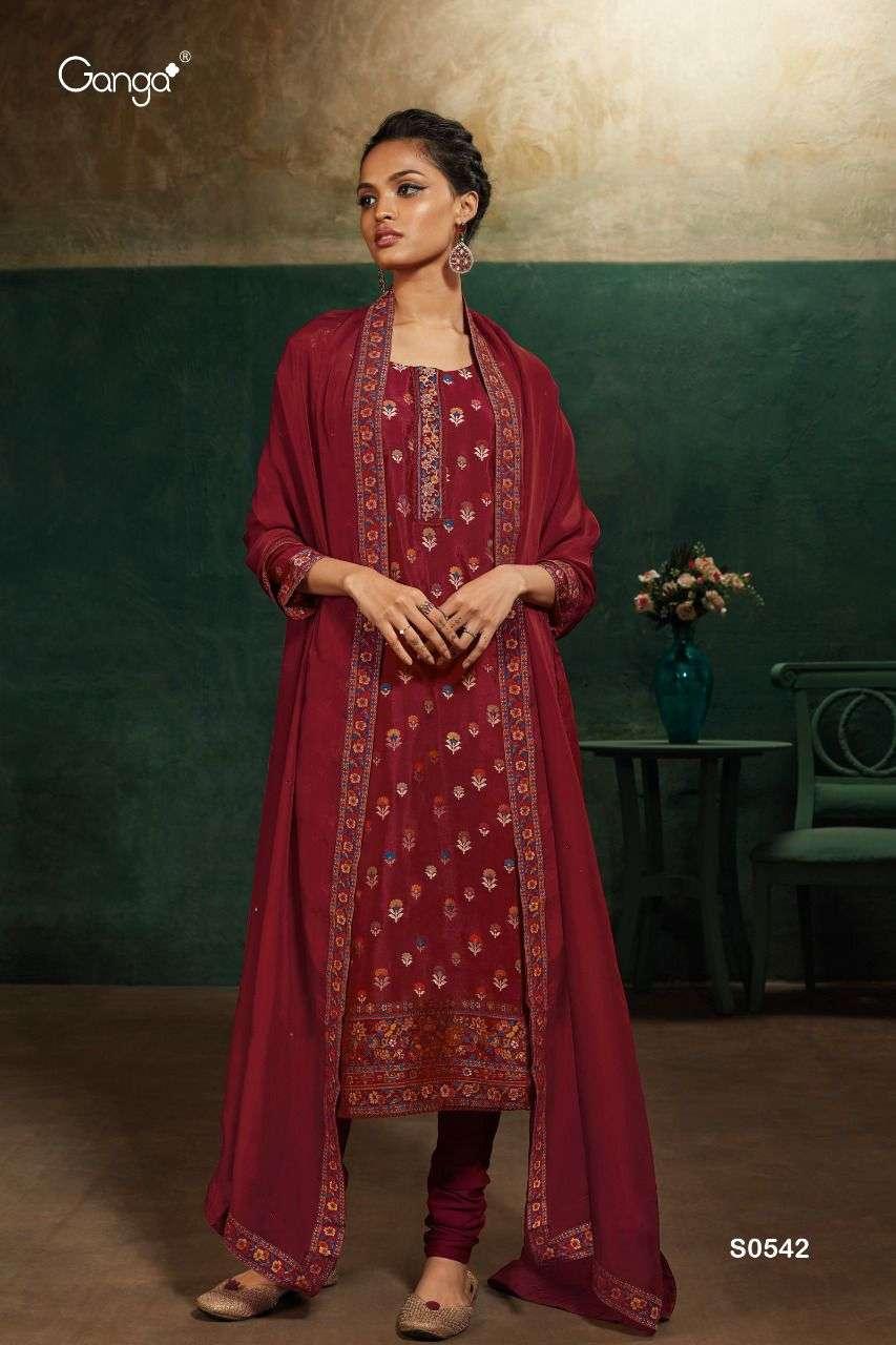 ganga mahira 544 bemberg organza silk satin suit with handwork
