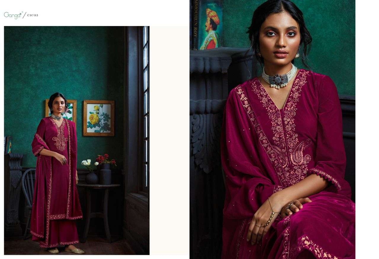 ganga qurb series 702-707 premium velet with embroidery suit