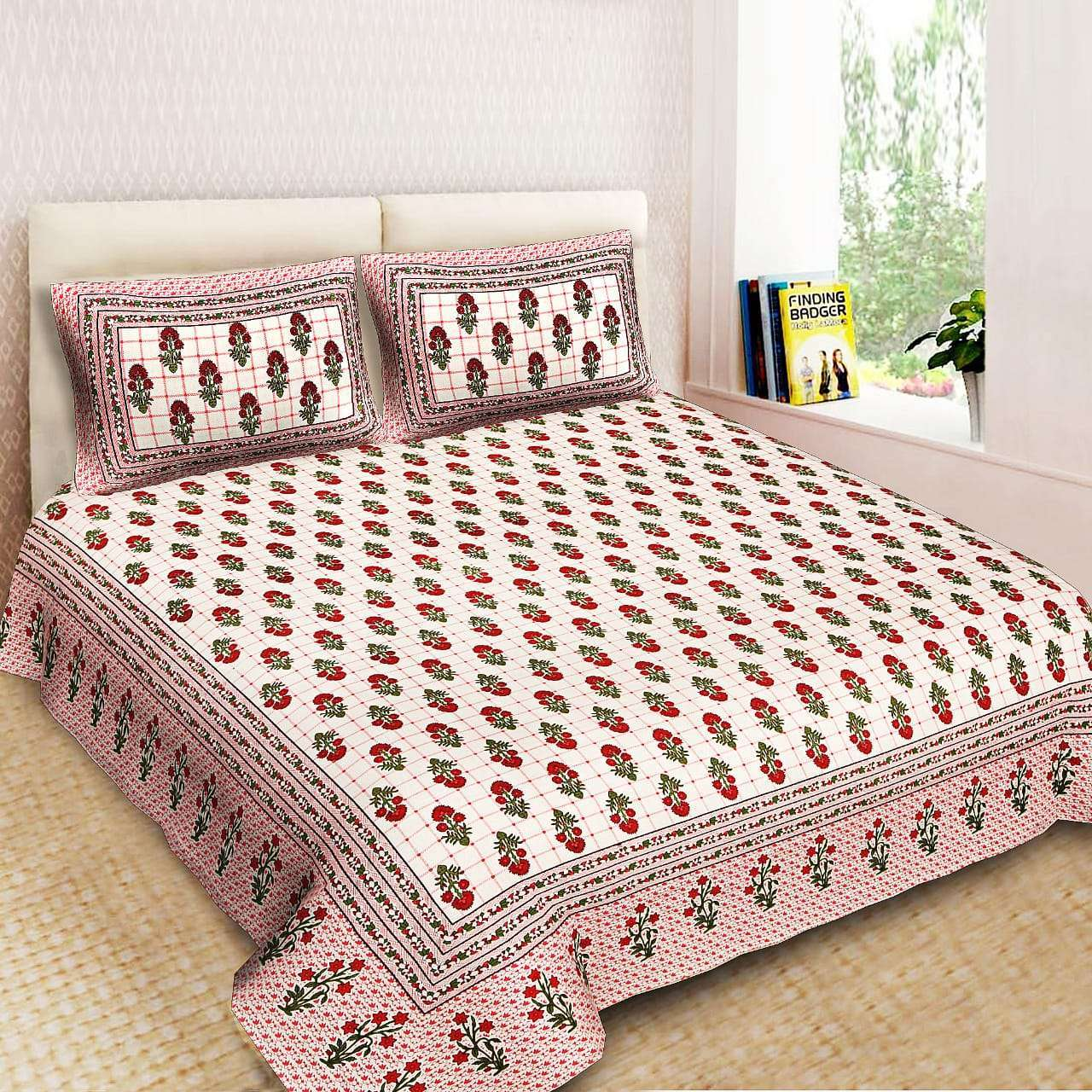 GANGAUR PURE COTTON KING SIZE DOUBLE BEDSHEETS WITH 2 PILLOW COVER AT BEST RATES