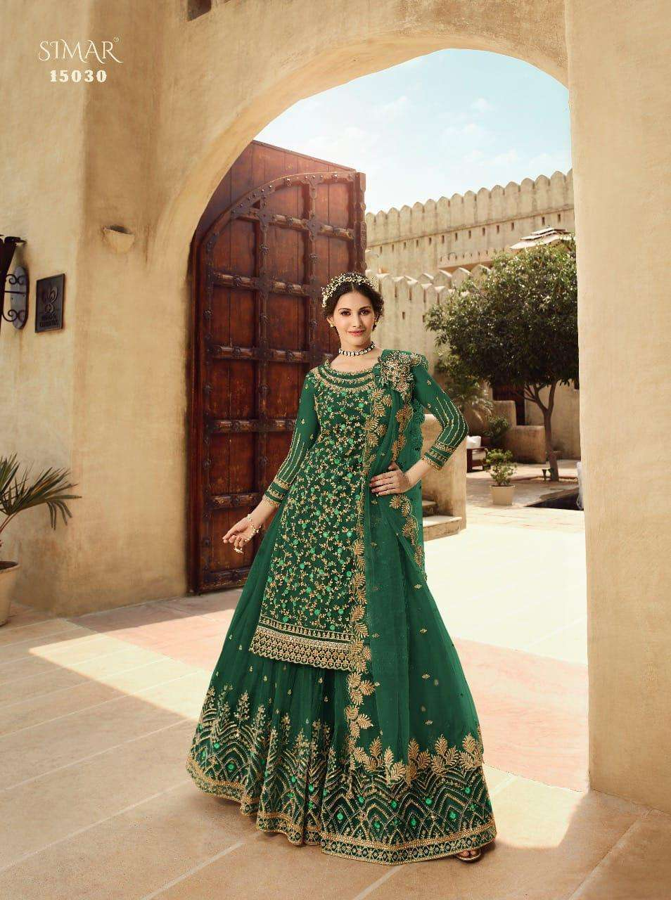 glossy 15030 colour Net Embroidery With Swarovski Work suit