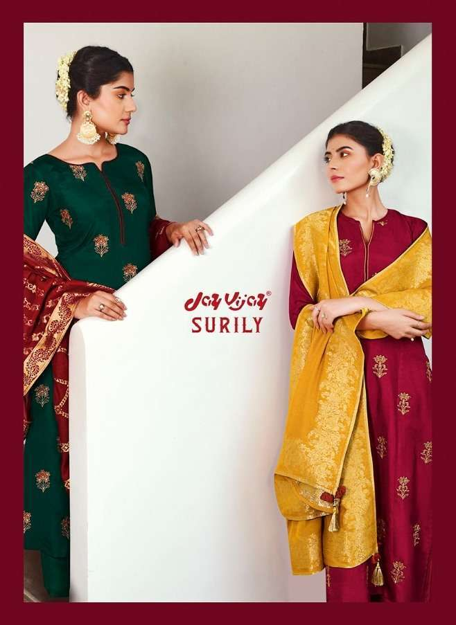 jay vijay surily series 6341-6349 pure bemberg silk embroidery suit
