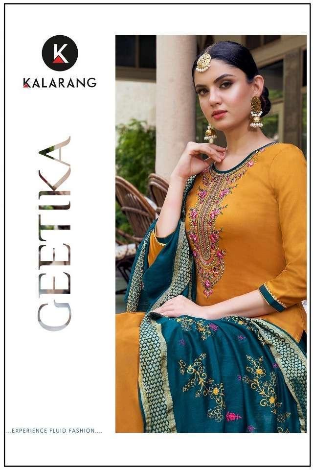 kalarang geetika series 3151-3154 jam silk cotton suit