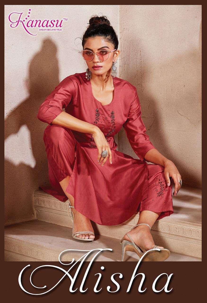 kanasu alisha series 4601-4608 diable silk kurti with pant
