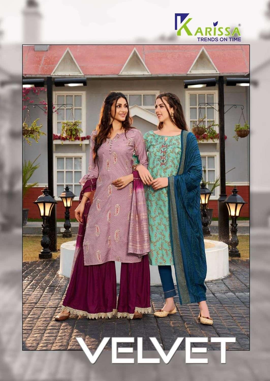 karissa velvet series 2001-2006 Premium Banarasi modal silk with foil print suit