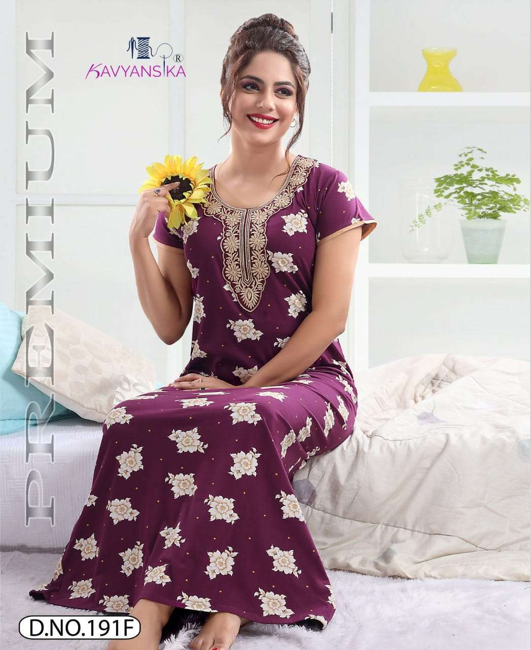 kavyansika vol 191 embroidery cotton hosiery night gown