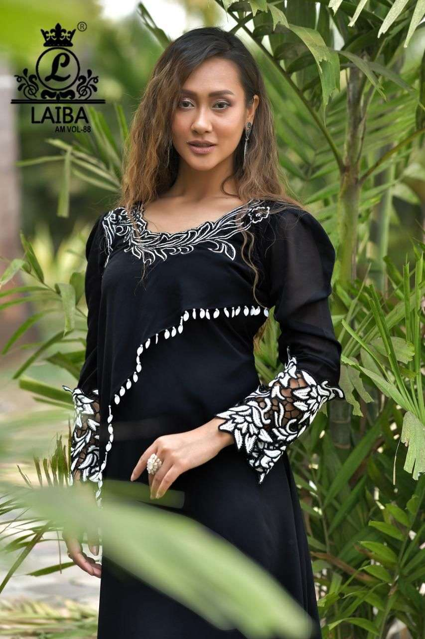 laiba am vol 88 Pure Georgette tunic with classy Embroidery work