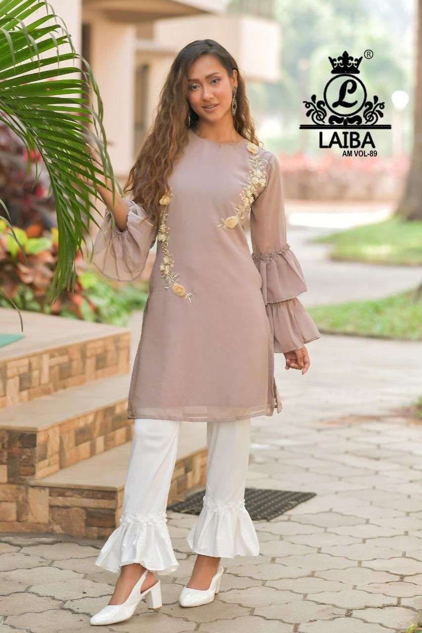 laiba am vol 89 Pure Georgette Tunic with classy Hand work