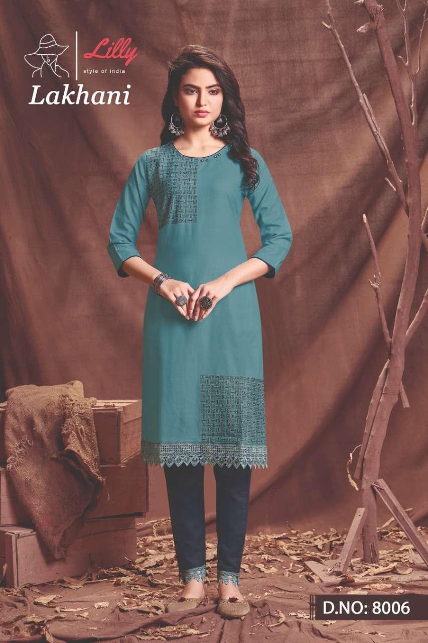 lilly lakhani series 8001-8006 Bitalian viscous cotton With Embroidery kurti