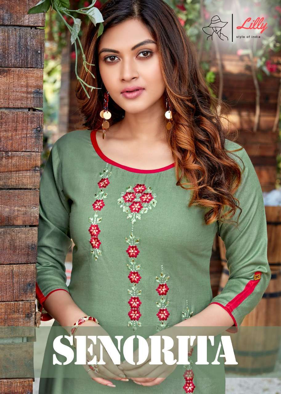 lilly senorita series 1001-1009 Rayon Embroidered Work Kurtis with Handwork touched