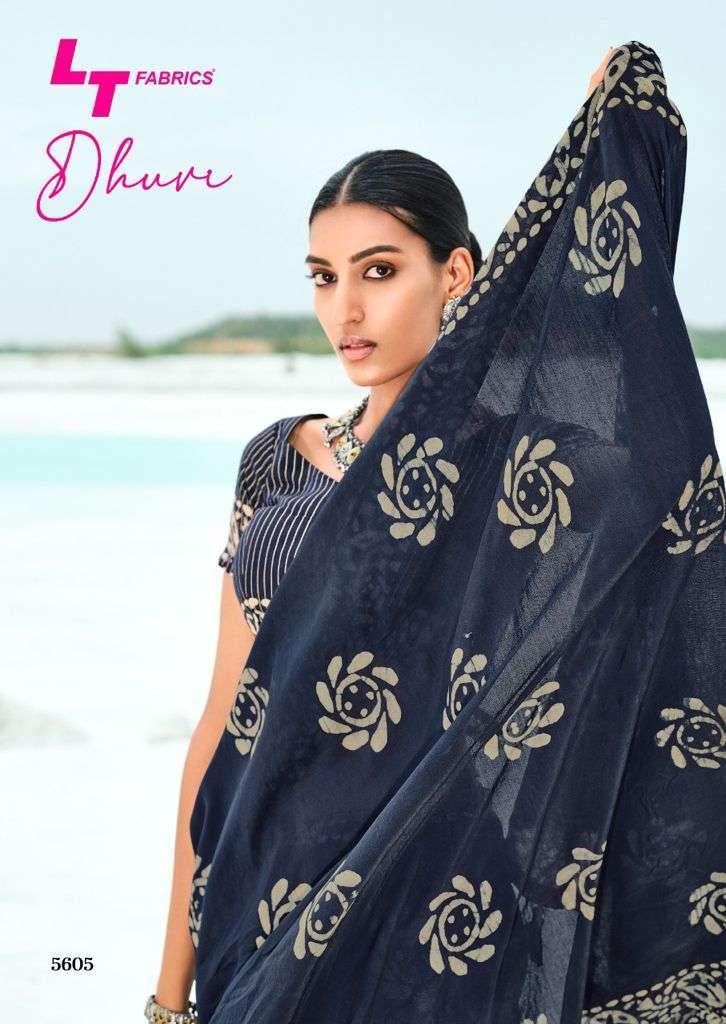 lt fabrics dhruvi series 5801-5810 cotton silk batik print saree