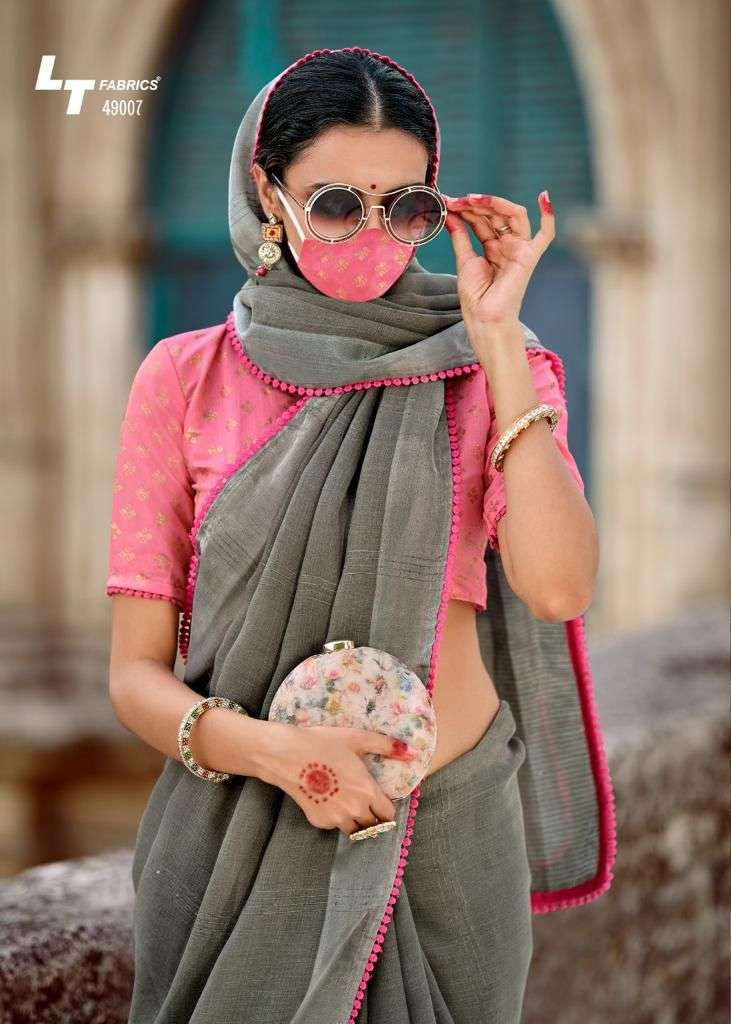 lt fashion ananta vol 2 series 49001-49010 linen silk saree