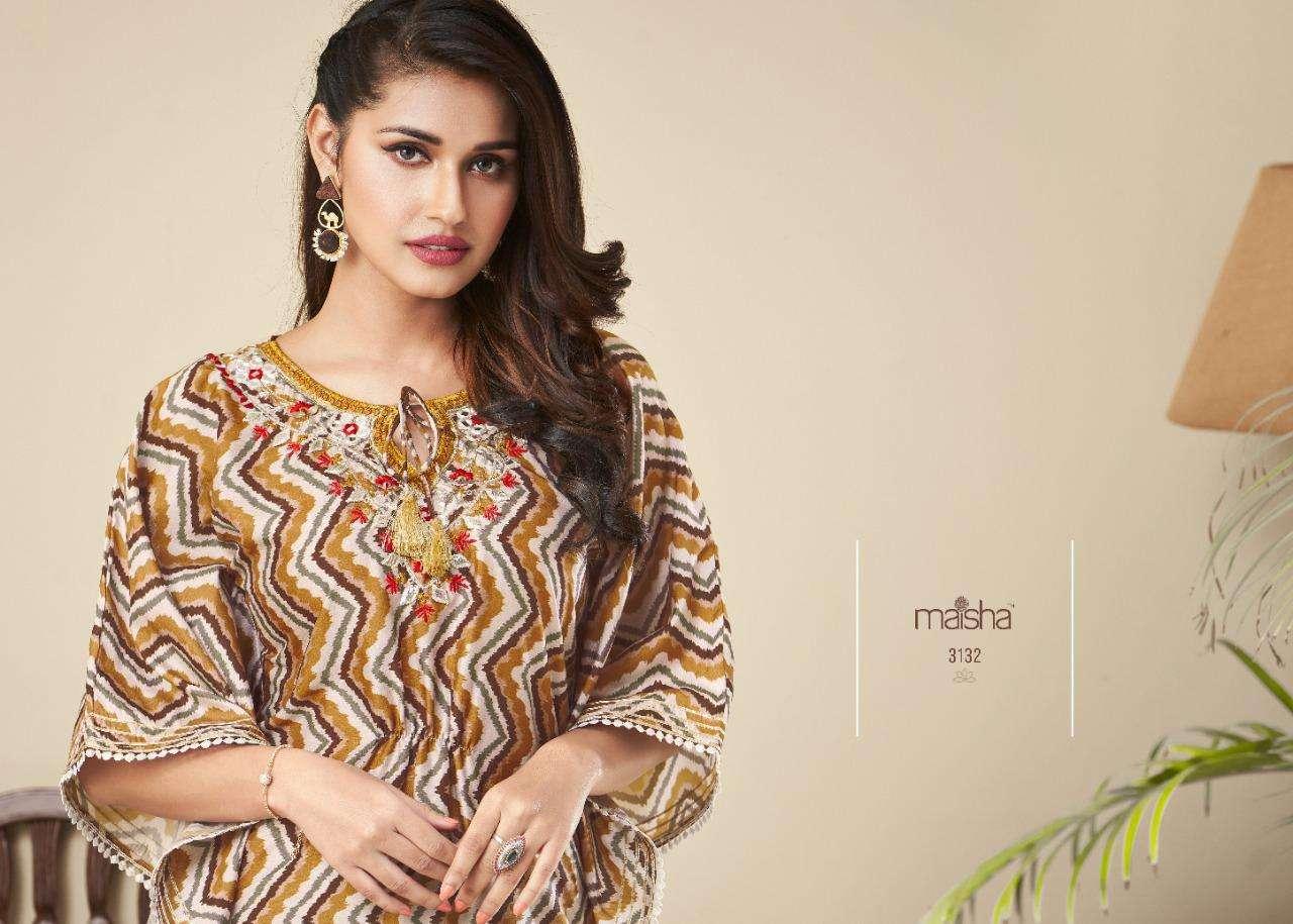 Maskeenji maisha nazhmee series 3131-3134 pure silk with handwork kurti