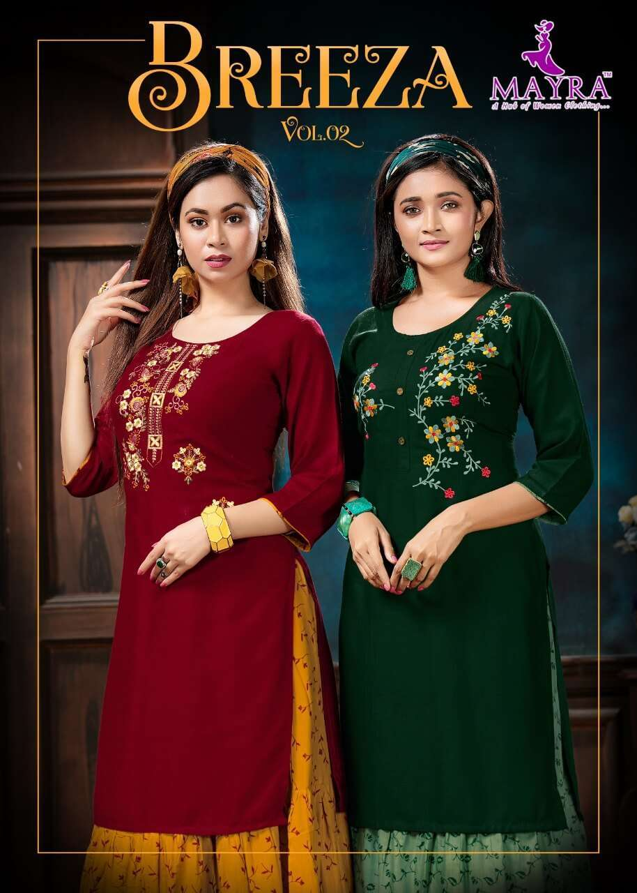 mayra breeza vol 2 series 42001-42006 Reyon slub 14kg kurti with skirt