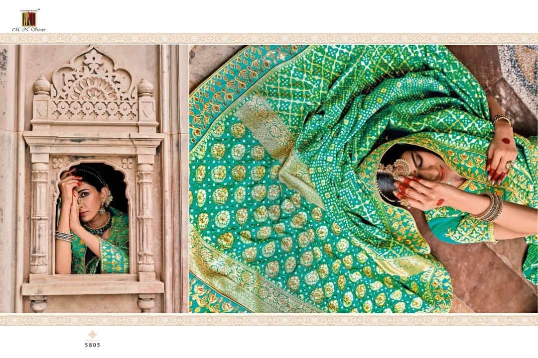 mn saree raj gharana series 5801-5819 bandhej patola pure silk saree
