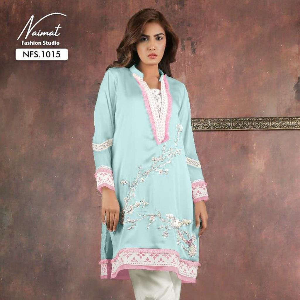 naimat fashion nfs 1015 Pure Georgette Tunic with designer Hand Work & Lace Work