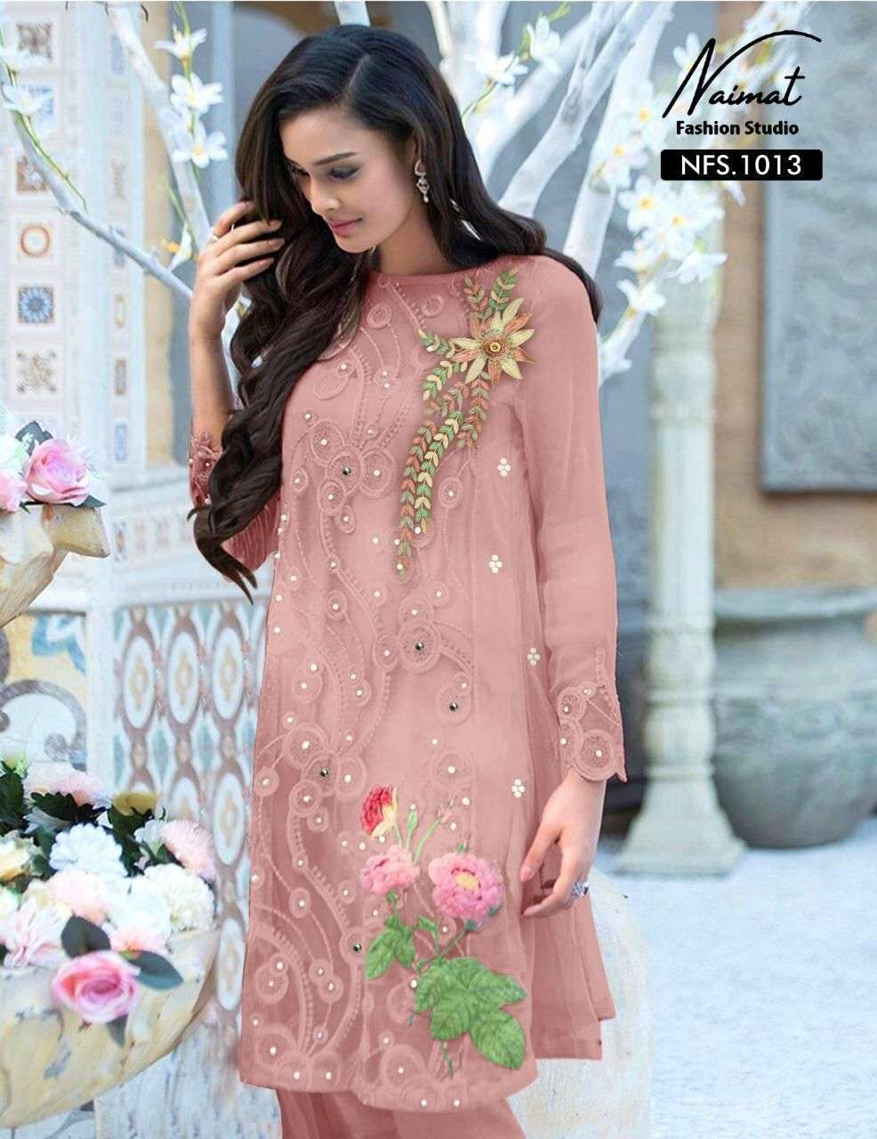 naimat fashion studio nfs-1013 Pure Georgette Tunic Kurti with Glamours Embroidery Work