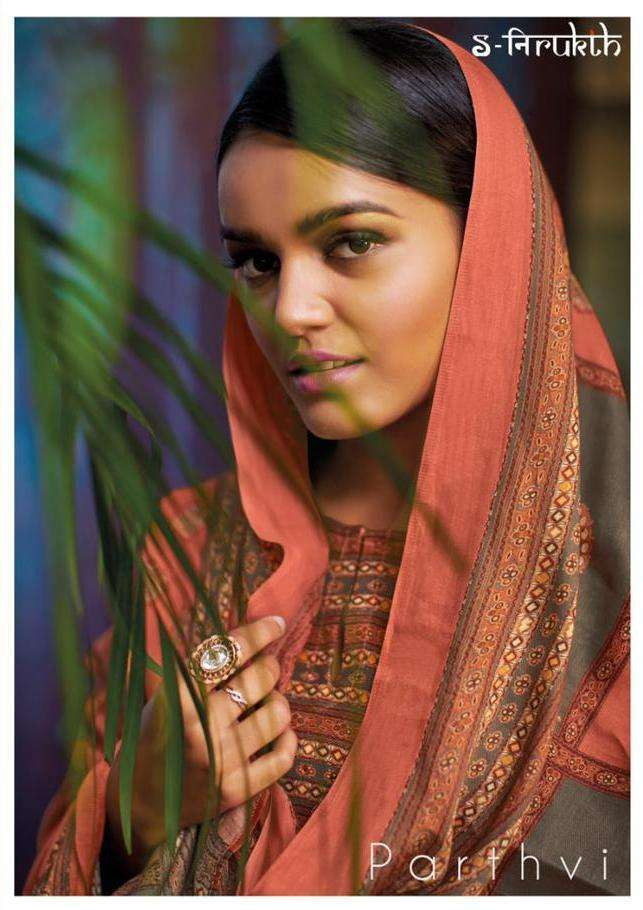 nirukth parthvi Pashmina twill print with mirror work suit