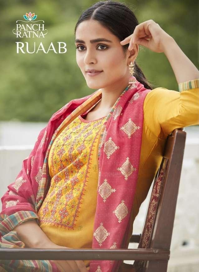 panch ratna ruaab series 11331-11335 cotton satin with diamond suit