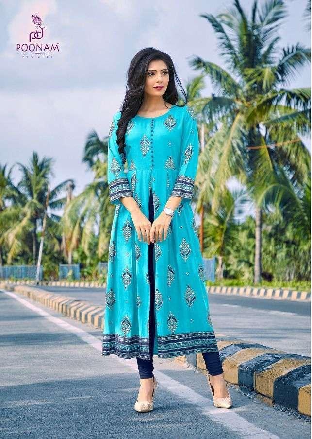 poonam designer akshara series 1001-1008 pure rayon foil print kurti