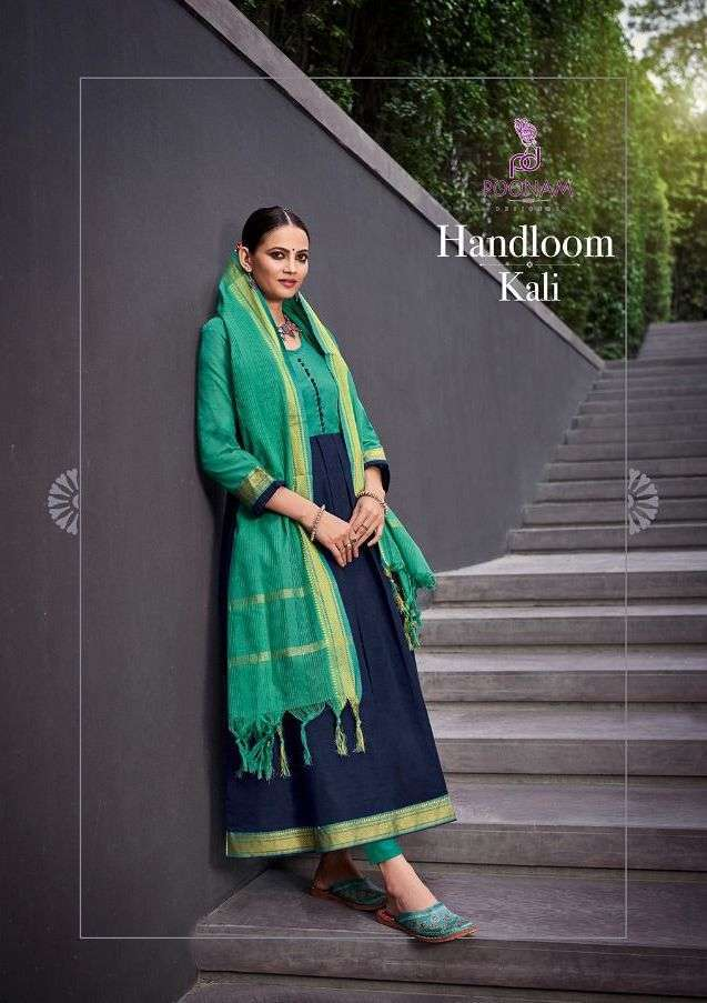 poonam designer handloom kali series 1001-1009 Pure south cotton jecard Gown with dupatta